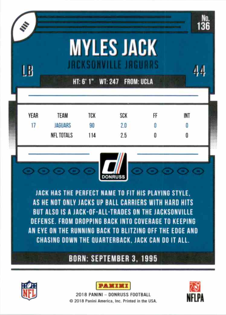 2018 Donruss Myles Jack #136 card back image