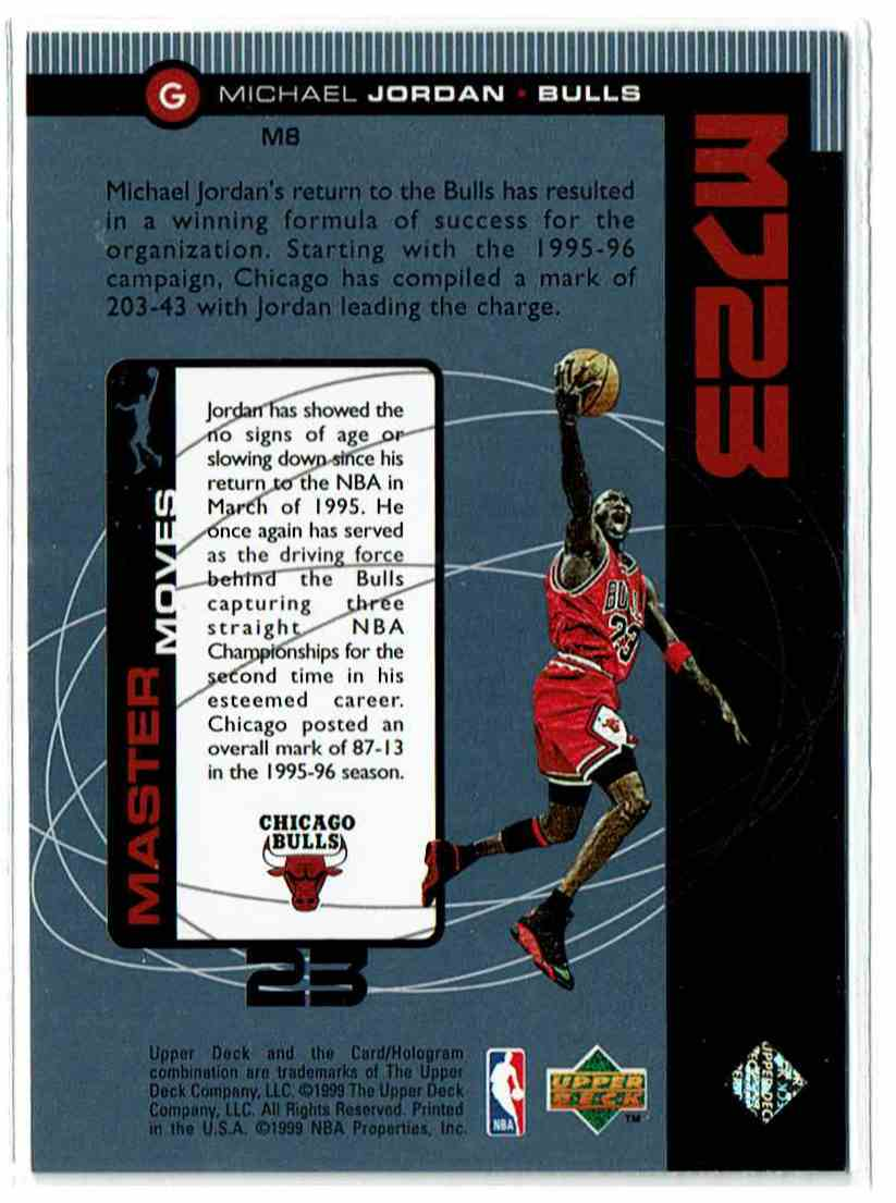 1998-99 Upper Deck Mj23 Michael Jordan #M8 card back image