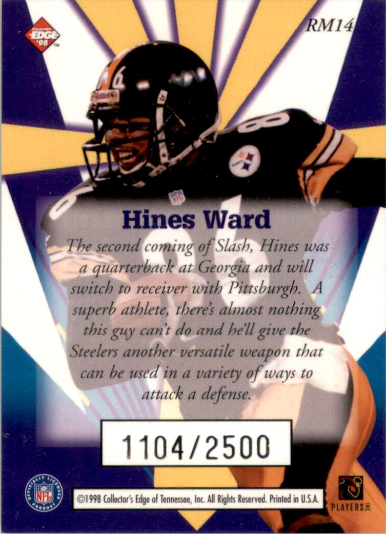 1998 Collector's Edge Masters Rookie Masters Hines Ward #RM14 card back image