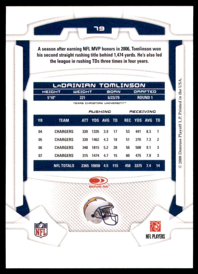 2008 Leaf Rookies And Stars LaDainian Tomlinson #79 card back image