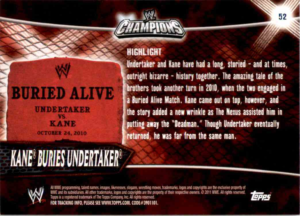 2011 Topps Wwe Champions Kane Buries Undertaker #52 card back image
