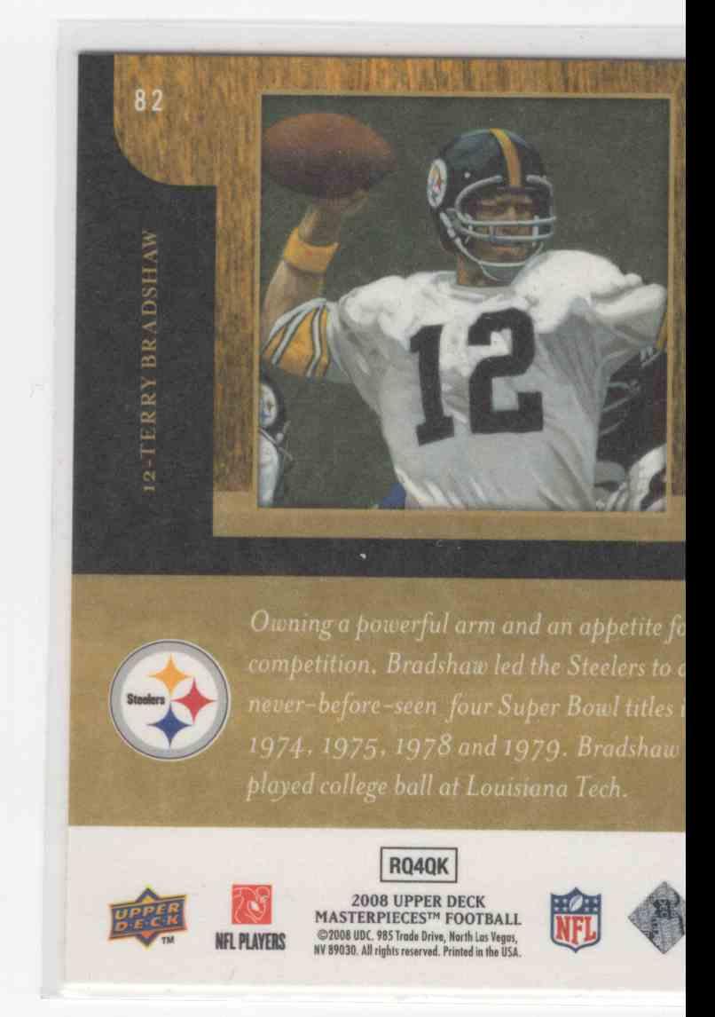 Verzamelingen Verzamelkaarten: sport 2008 Upper Deck Masterpieces 82 Terry Bradshaw Pittsburgh Steelers Football Card