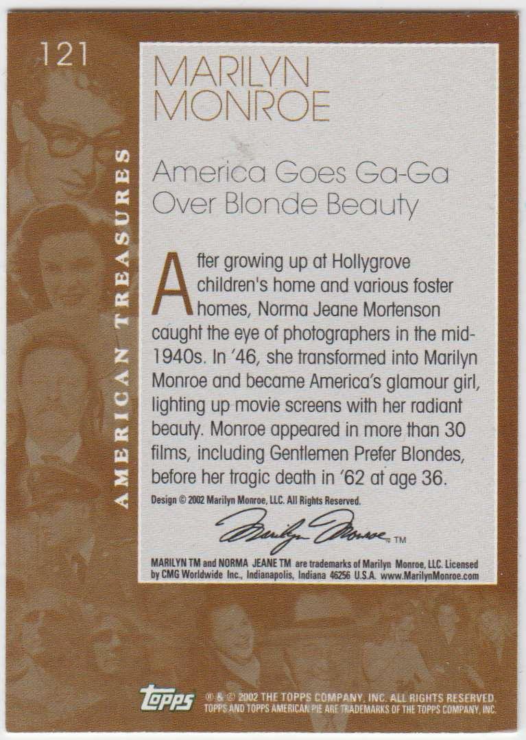2002 Topps American Pie Marilyn Monroe #121 card back image