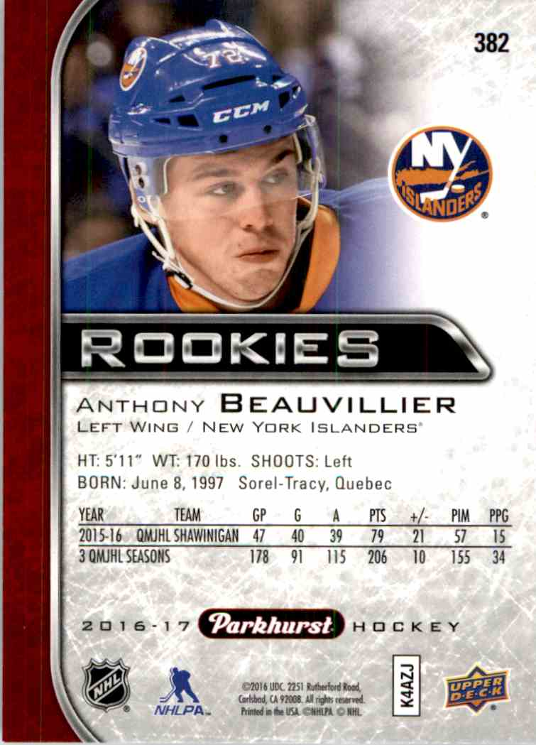 2016-17-Parkhurst-Red-Anthony-Beauvillier-Rookie-382 miniature 2