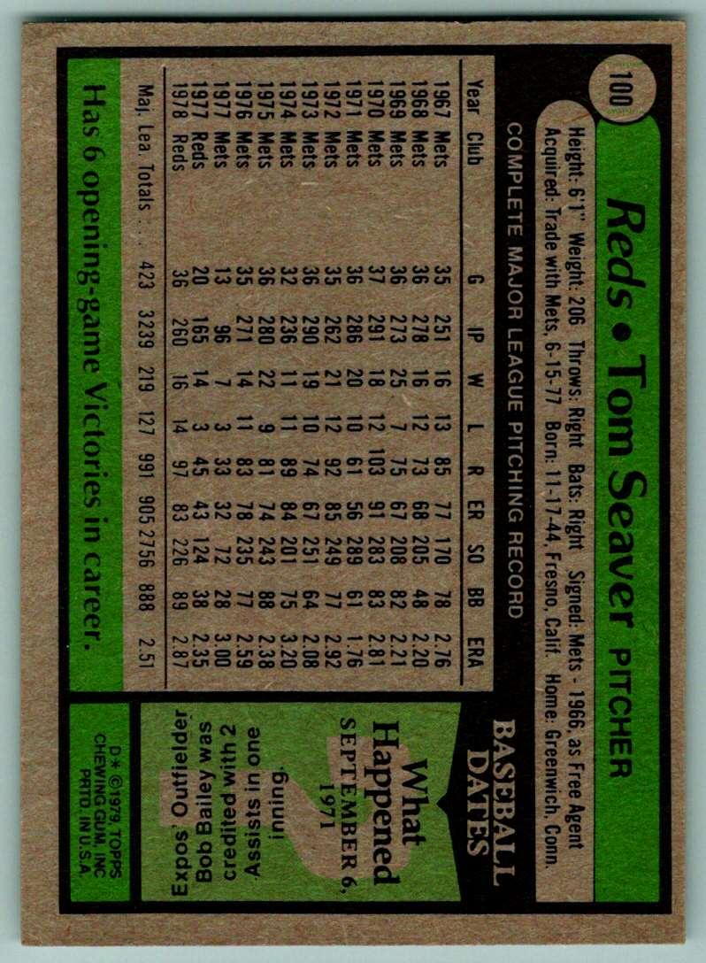 1979 Topps Tom Seaver #100 card back image