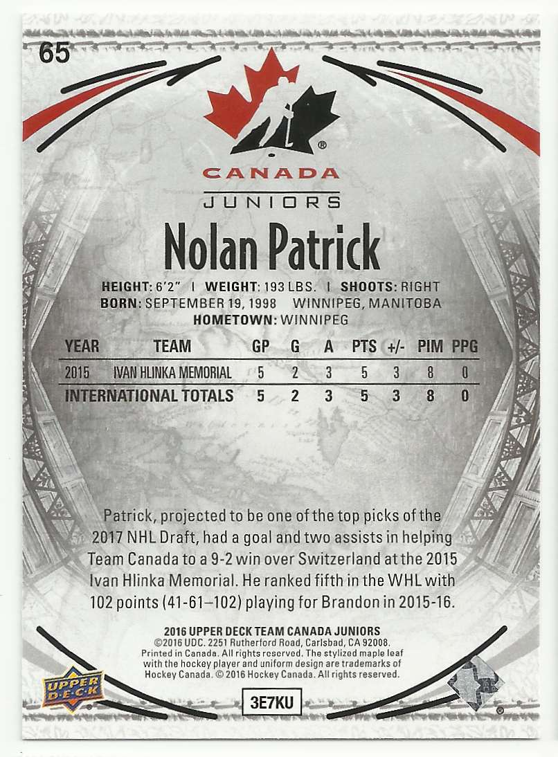 2016-17 Upper Deck Team Canada Juniors Nolan Patrick #65 card back image
