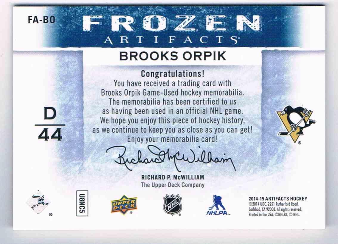 2014-15 Artifacts Frozen Brooks Orpik #FA-BO card back image