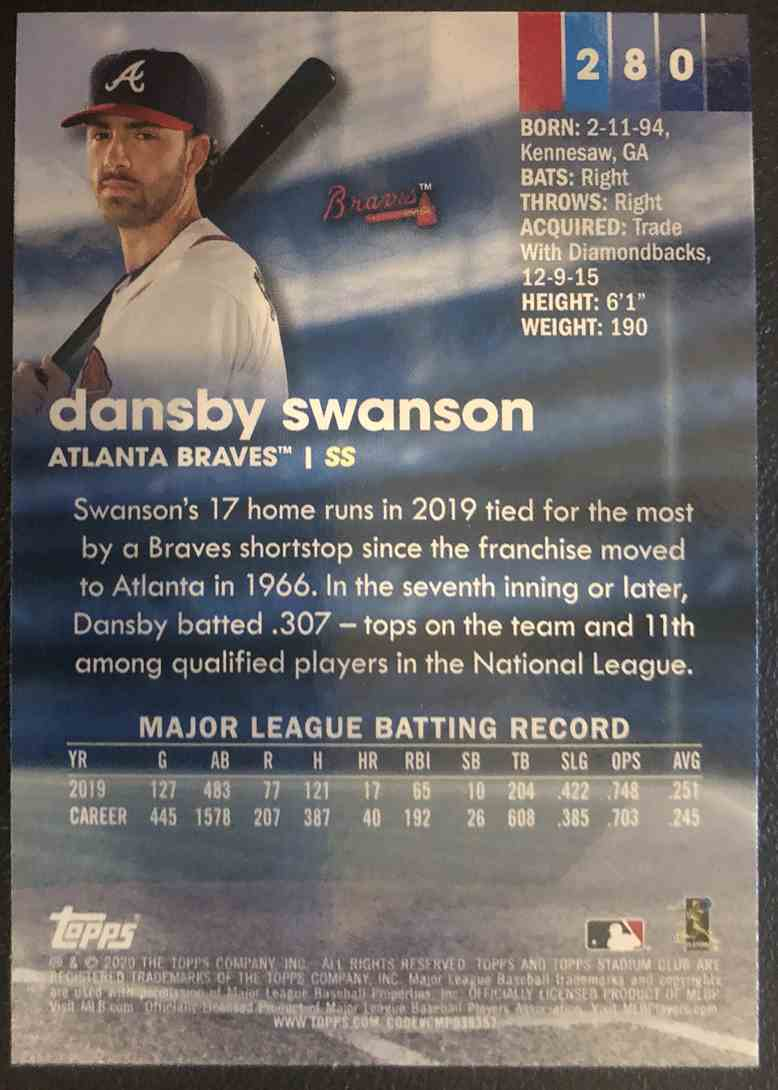 2020 Topps Stadium Club Dansby Swanson #280 card back image