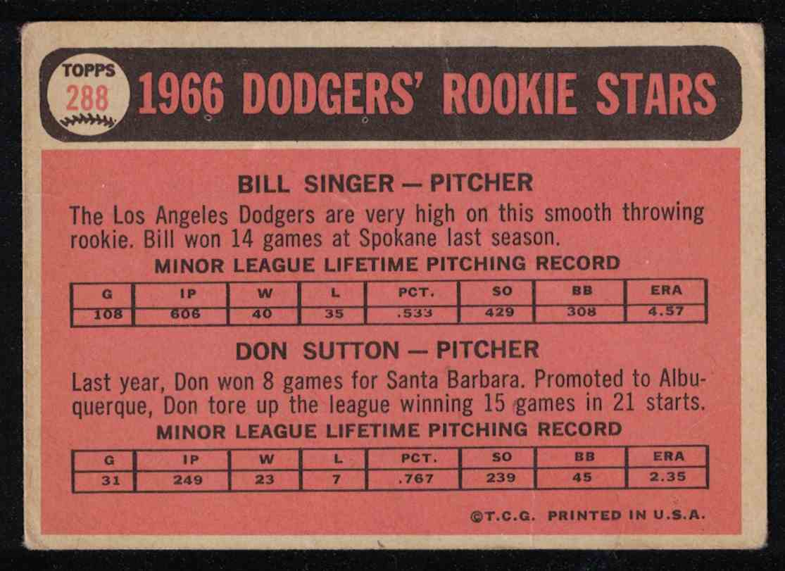 1966 Topps Don Sutton Dodgers Rookie Stars VG+ (Crease) #288 card back image
