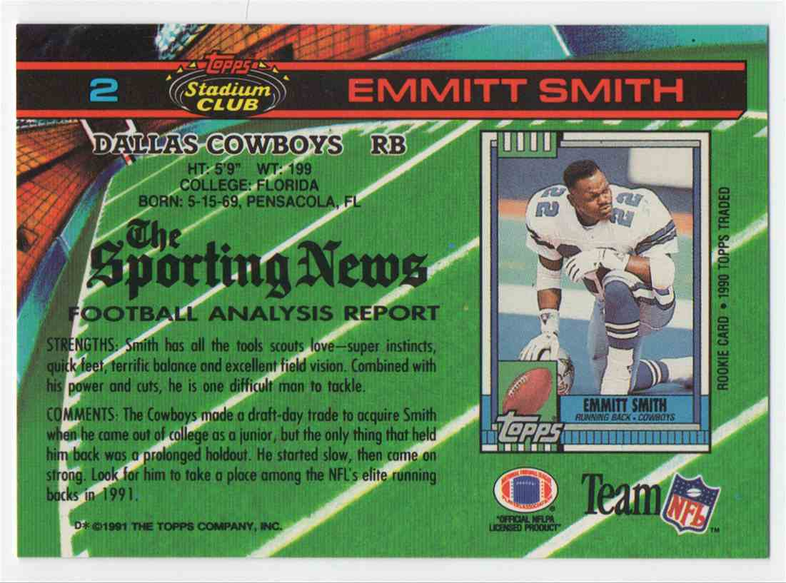 1991 Stadium Club Emmitt Smith #2 card back image