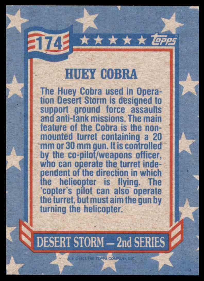 1991 Desert Storm Topps Huey Cobra #174 card back image