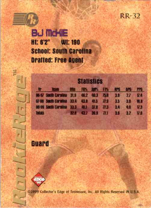 1999-00 Collector's Edge Rookie Rage B.J. McKie #RR32 card back image