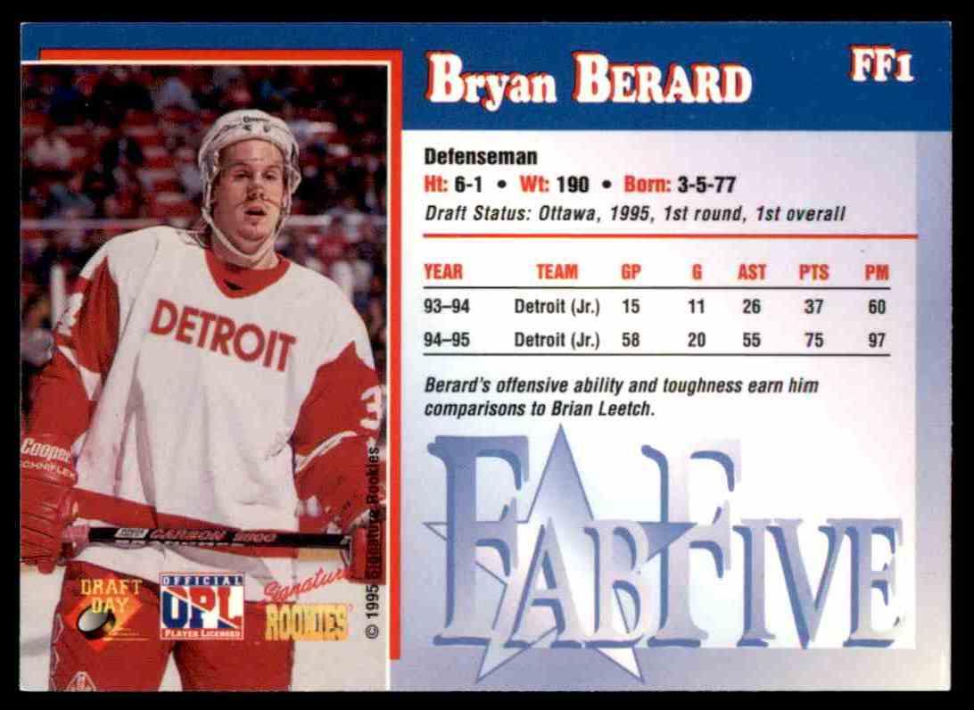 1995-96 Signature Rookies Bryan Berard #FF1 card back image