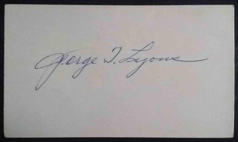 """1920 3X5 George """"Tony"""" Lyons card back image"""