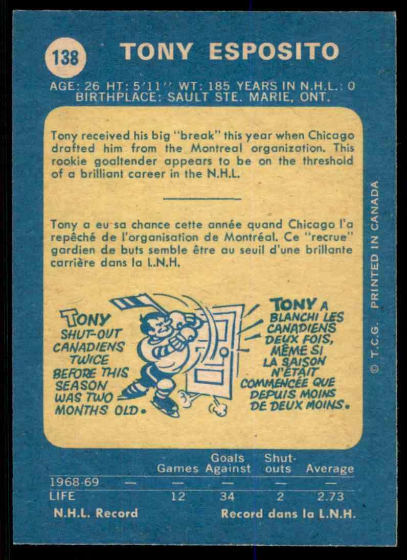 1968-69 O-Pee-Chee Tony Esposito #138 card back image