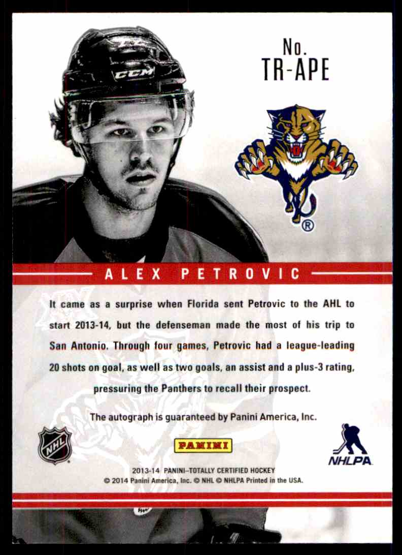 2013-14 Totally Certified Rookie Signatures Alex Petrovic #TR-APE card back image