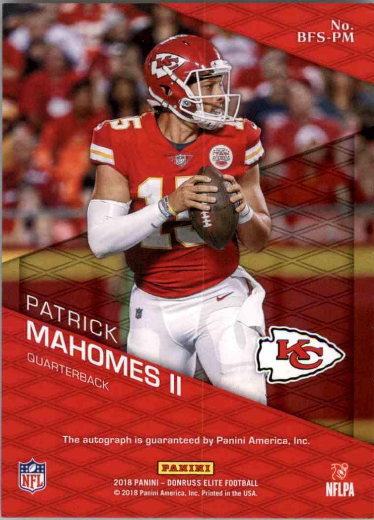 2018 Donruss Panini Elite Patrick Mahomes #BFS-PM card back image