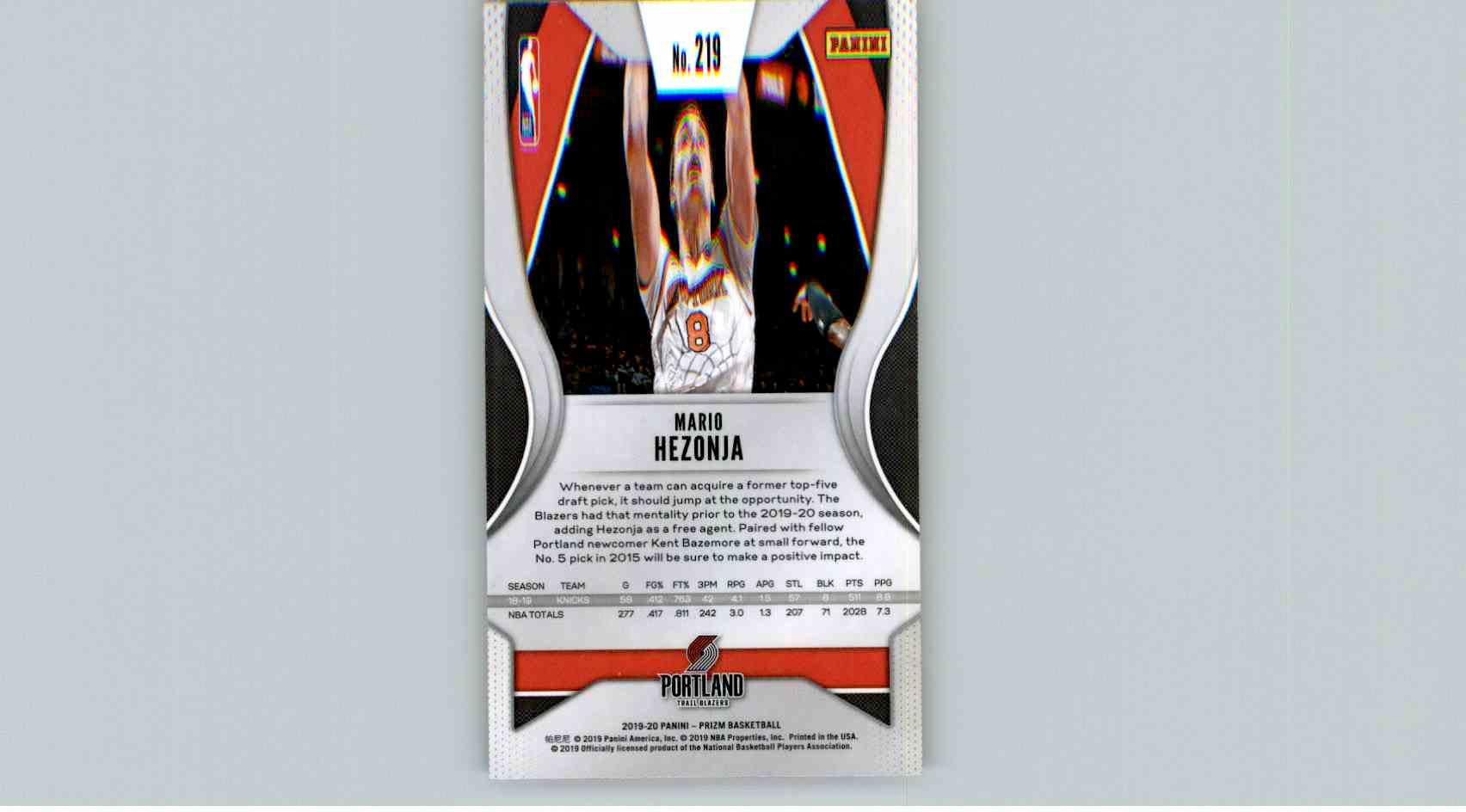 2019-20 Panini Prizm Basketball Prizm Mario Henzoja #219 card back image