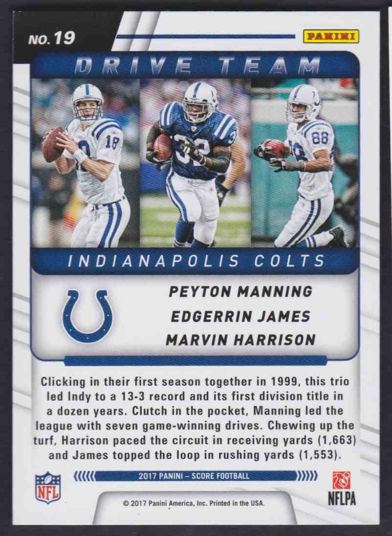 2017 Score Drive Team Peyton Manning Edgerrin James Harrison