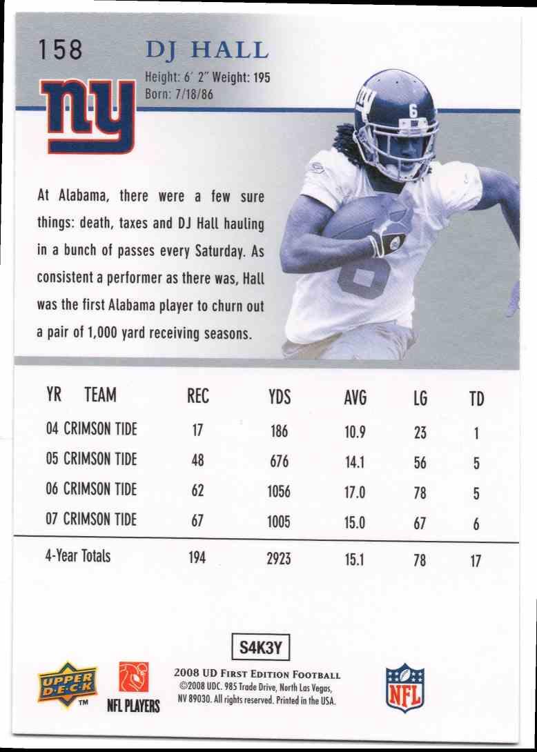 2008 Upper Deck First Edition D.J. Hall #158 card back image