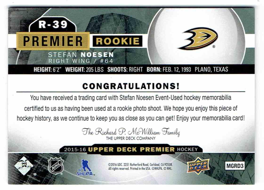 2015-16 Upper Deck Premier Rookie Jersey Stefan Noesen #R-39 card back image