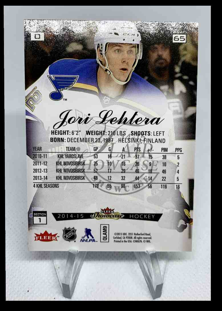 2015-16 Fleer Showcase Jori Lehtera #65 card back image