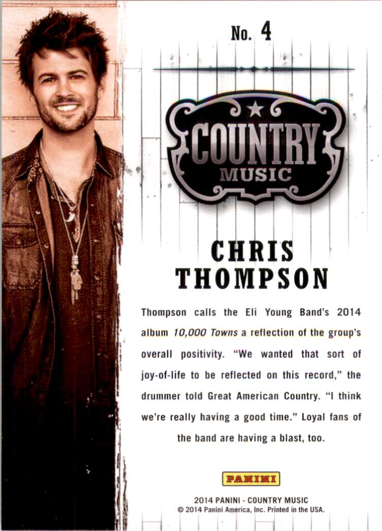2015 Country Music Retail Chris Thompson #4 card back image