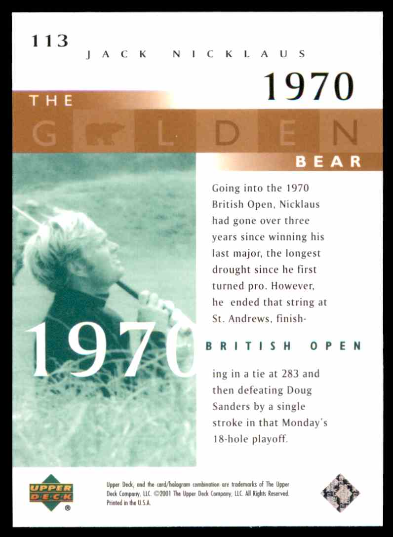 2001 Upper Deck J.Nicklaus Gb 70 British #113 card back image