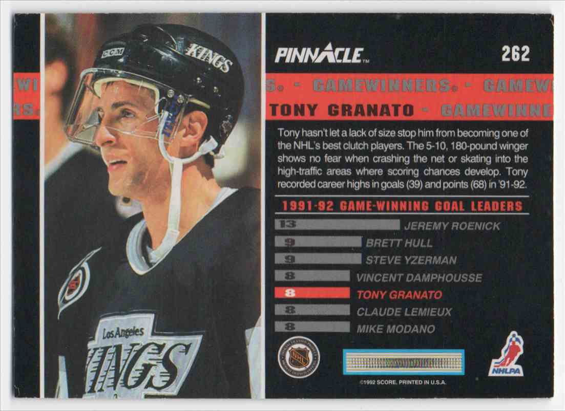 1992-93 Pinnacle Tony Granato #262 card back image