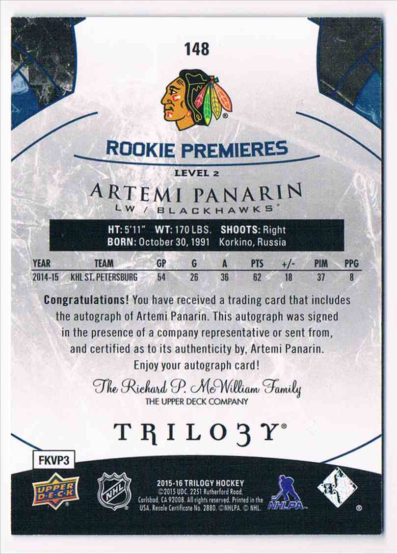 2015-16 Upper Deck Trilogy Rainbow Blue Artemi Panarin #148 card back image