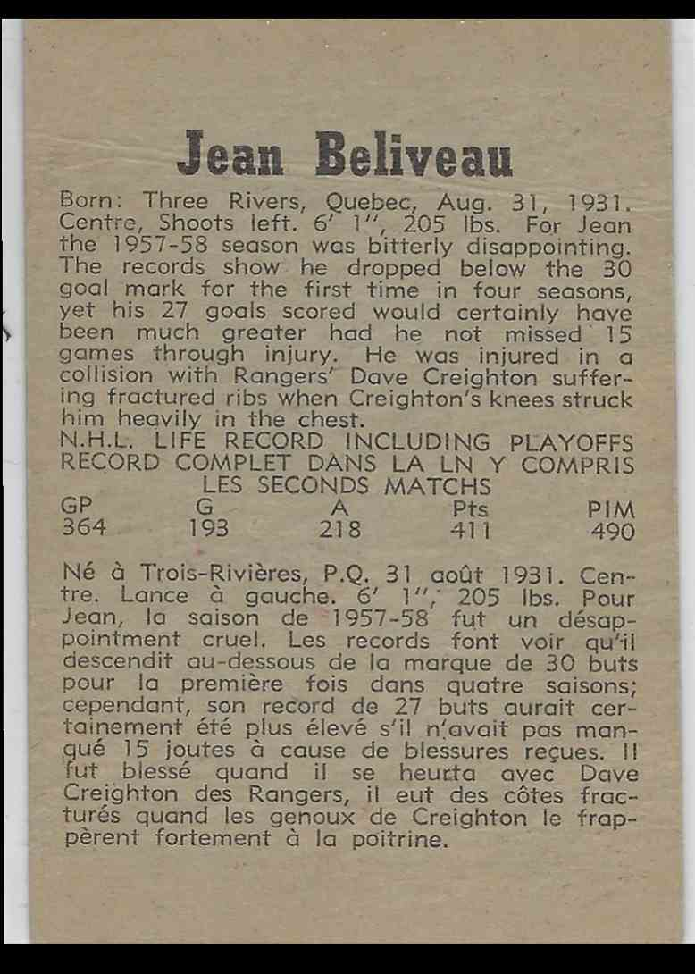 1957-58 Parkhurst Jean Beliveau #34 card back image