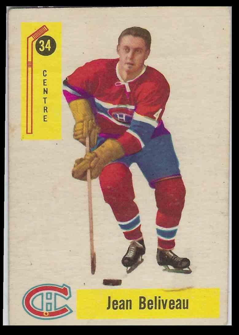 1957-58 Parkhurst Jean Beliveau #34 card front image