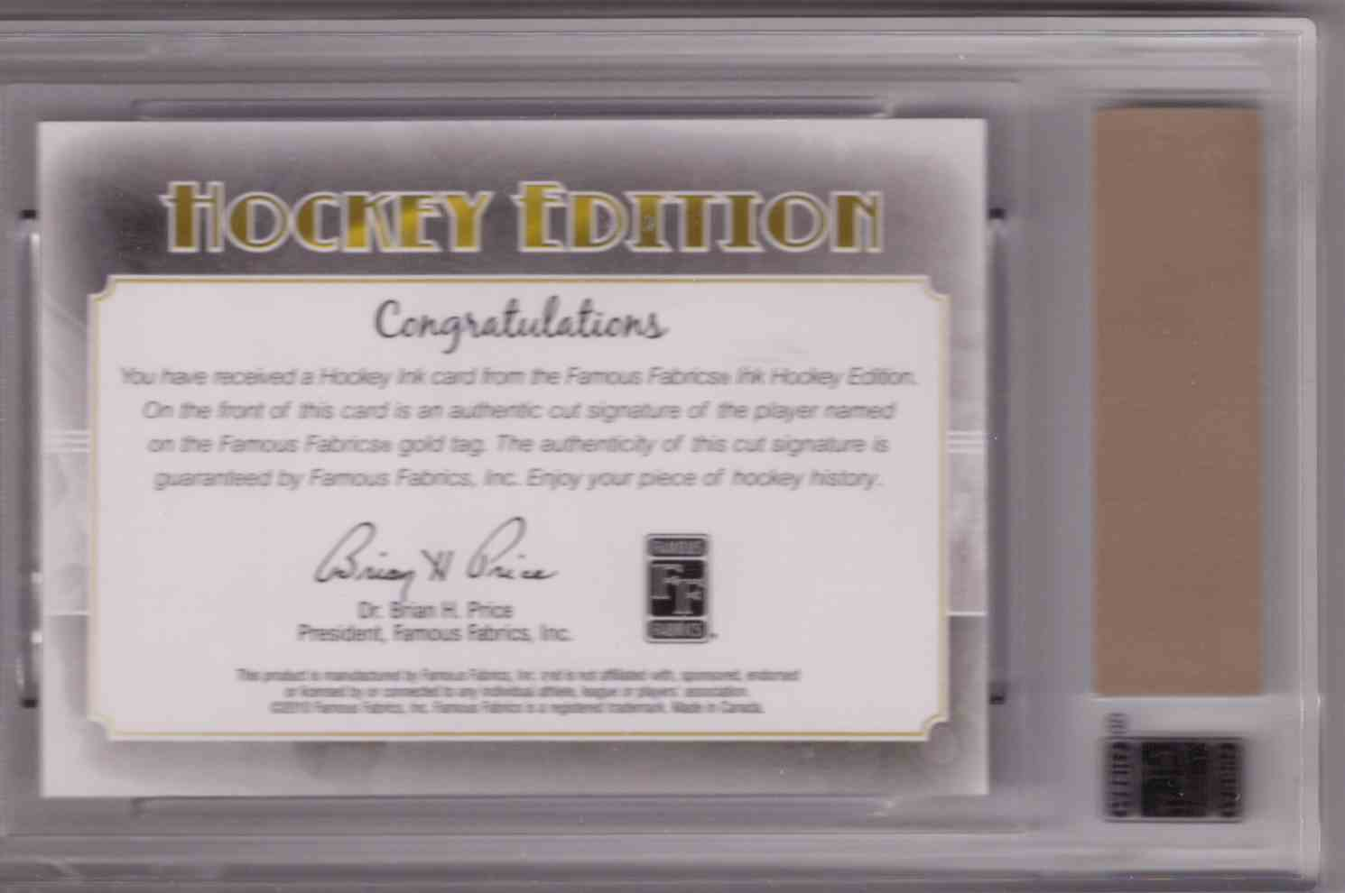2010-11 Famous Fabrics Hockey Ink Cut Signature Jordan Eberle card back image