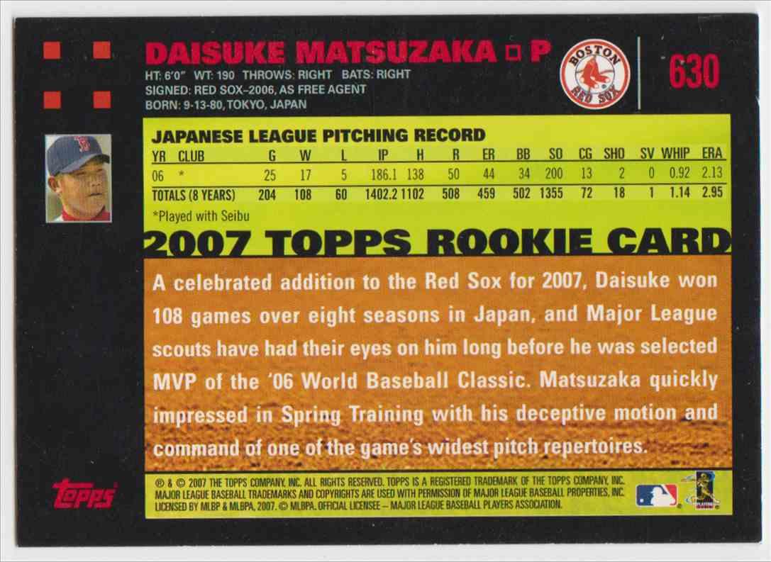 2007 Topps Daisuke Matsuzaka English #630A card back image