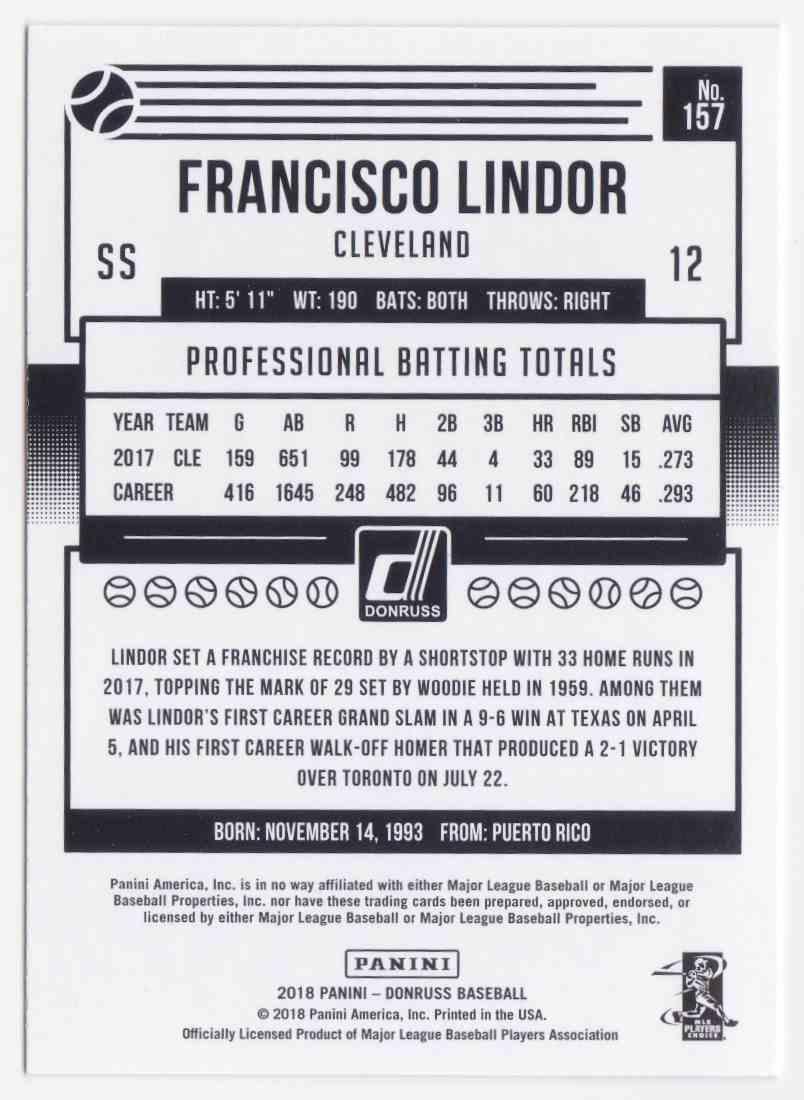 2018 Donruss Photo Variations SP Francisco Lindor #157 card back image