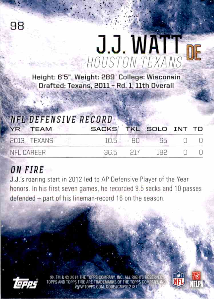 2014 Topps Fire J.J. Watt #98 card back image