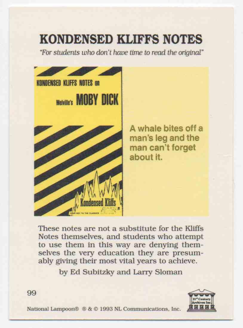 1993 National Lampoon November 1973 #99 card back image