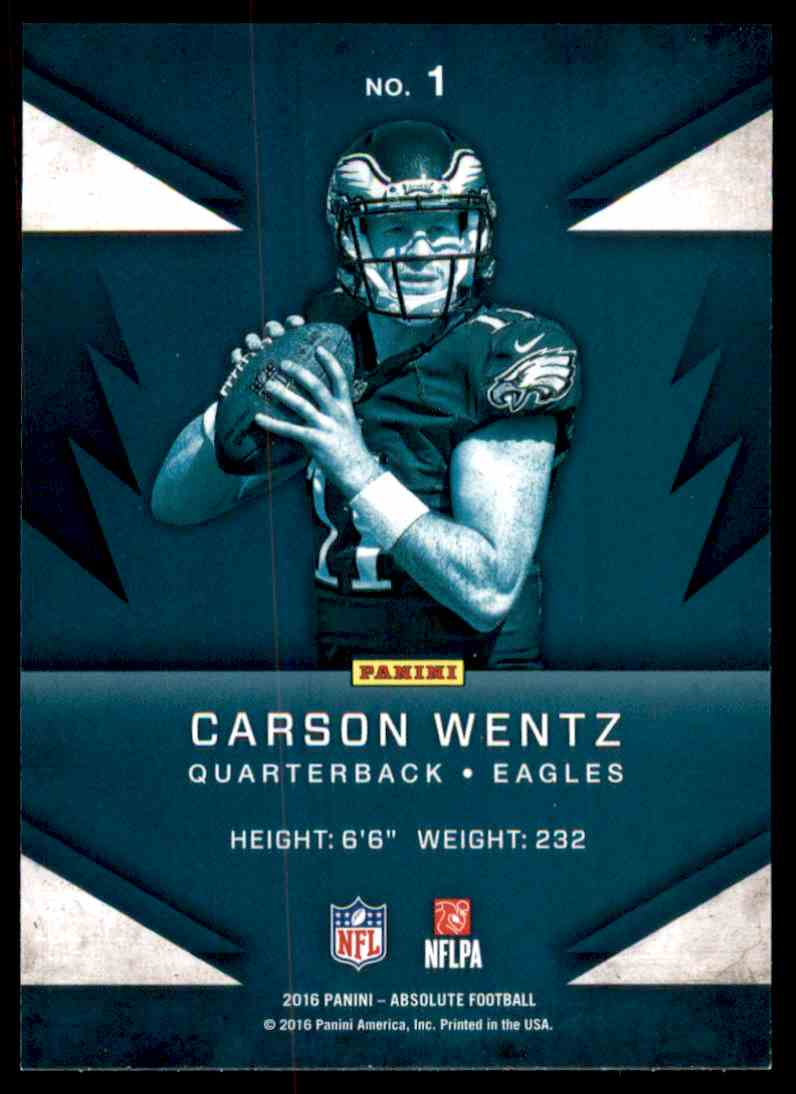 2016 Panini Absolute Rookie Roundup Carson Wentz 1 On Kronozio