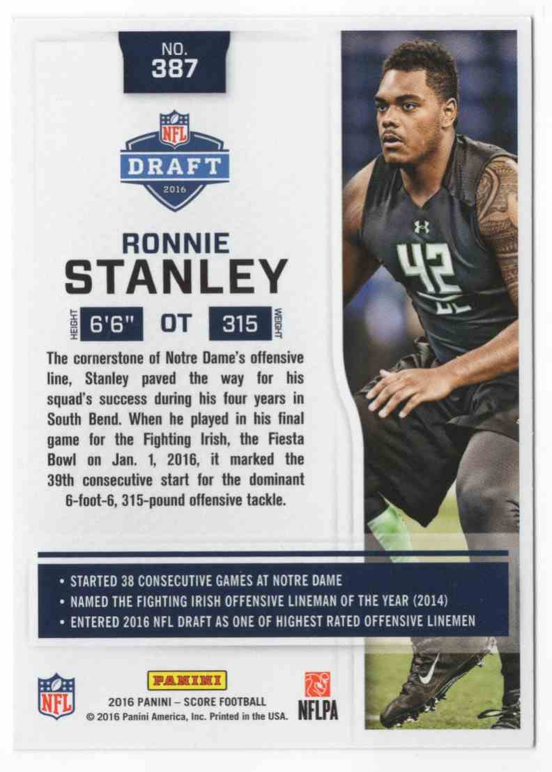 2016 Score Ronnie Stanley #387 card back image
