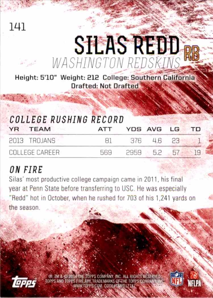 2014 Topps Fire Silas Redd RC #141 card back image