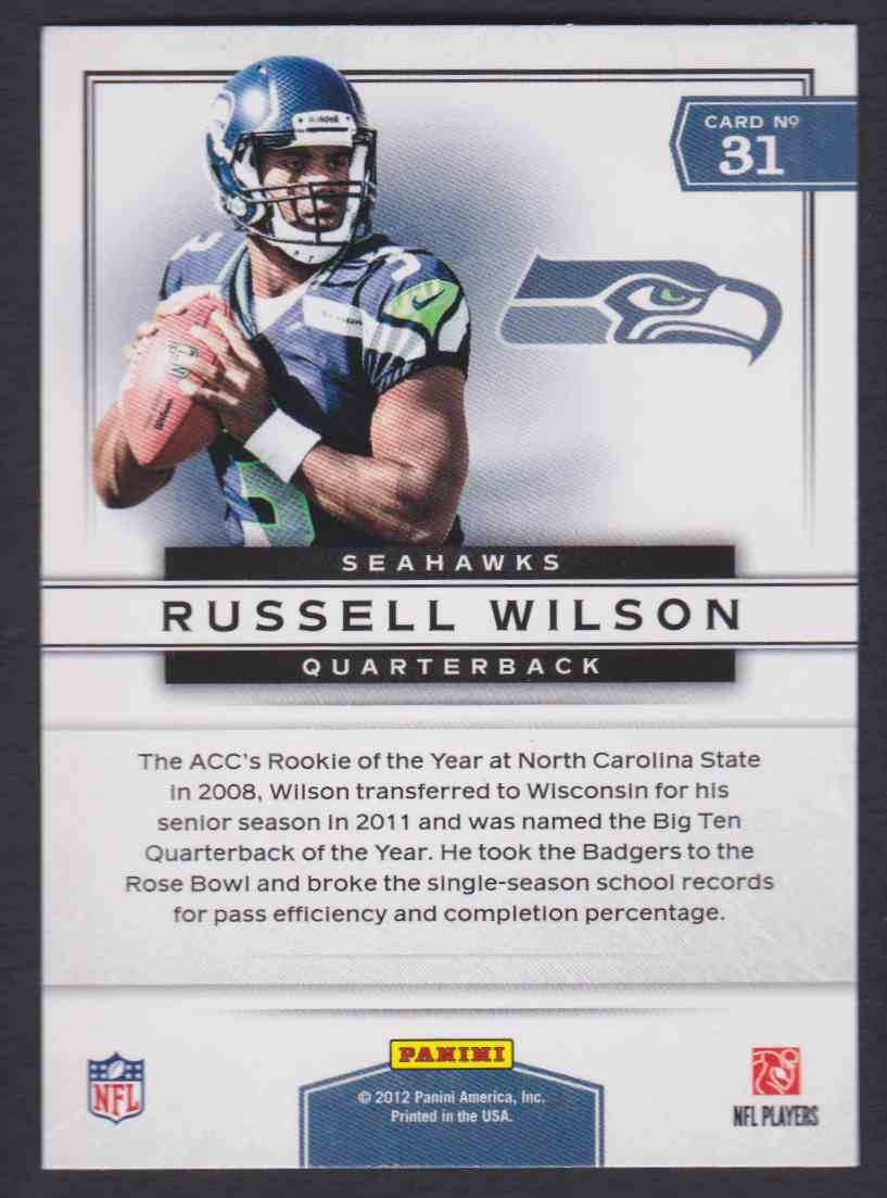 2012 Prestige Prestigious Picks Russell Wilson 31 On Kronozio