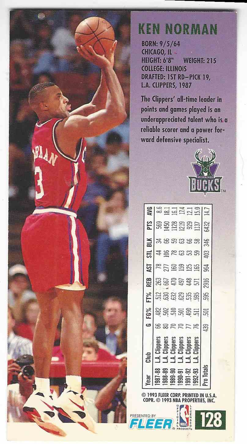 1993 94 Fleer NBA Jam Session Ken Norman 128 on Kronozio