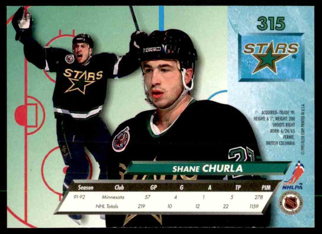 1992-93 Fleer Ultra Shane Churla #315 card back image