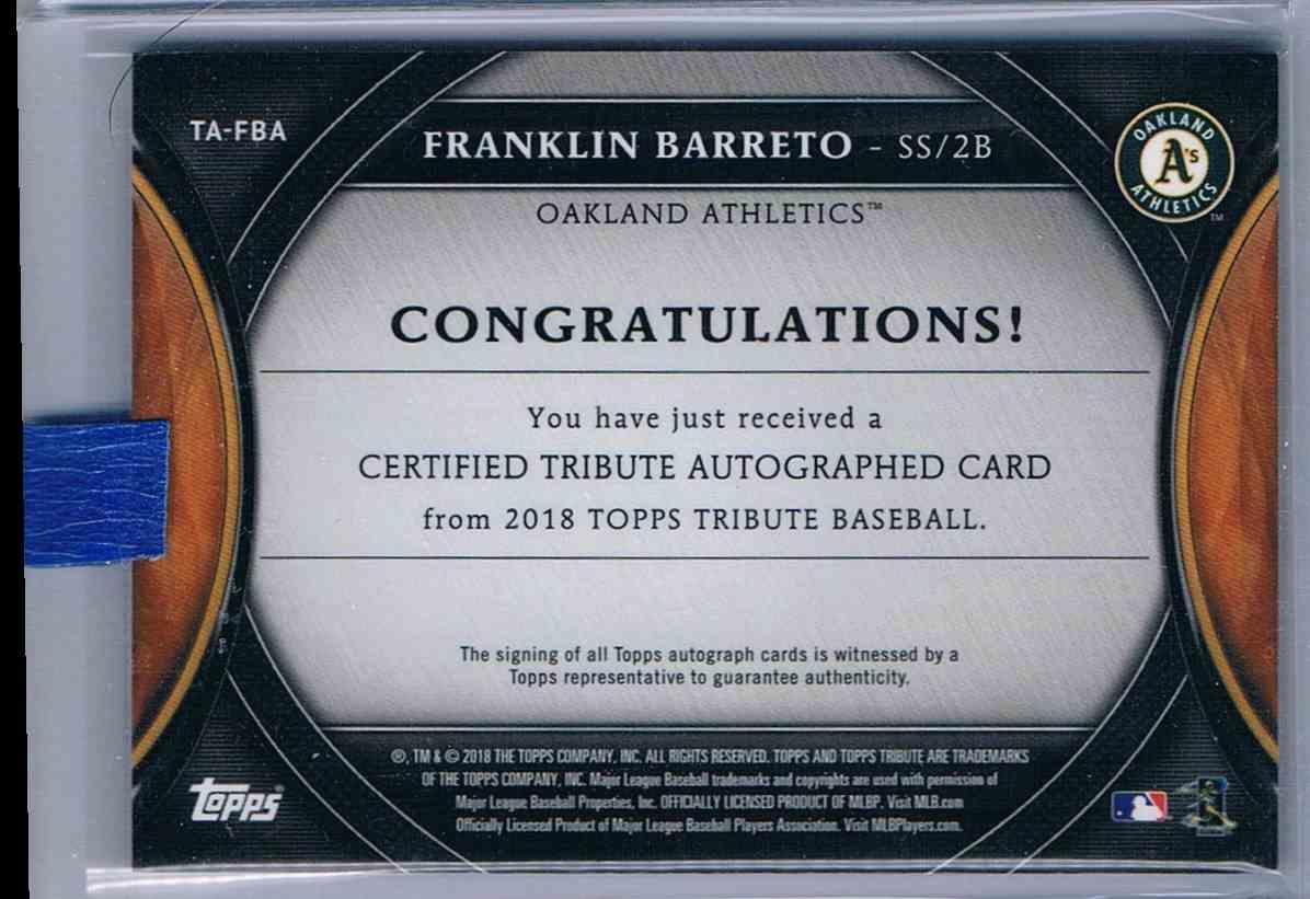 2018 Topps Tribute Purple Franklin Barreto #TA-FBA card back image