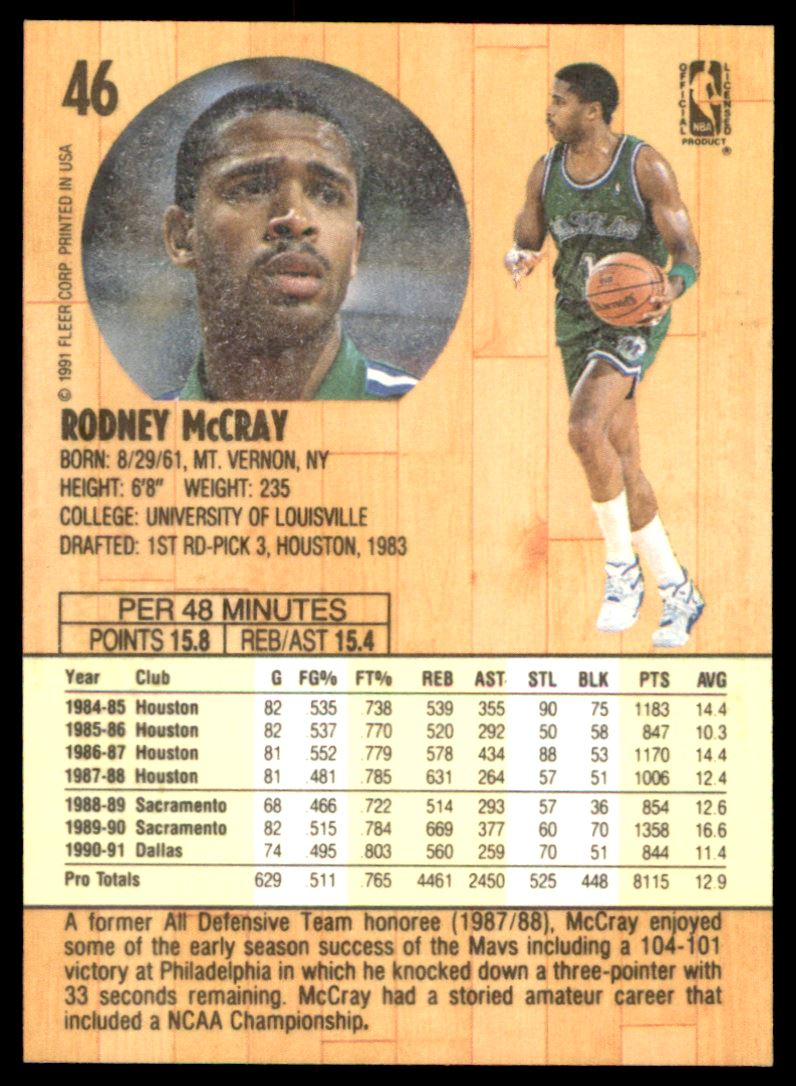 1991 92 Fleer Rodney Mccray 46 on Kronozio