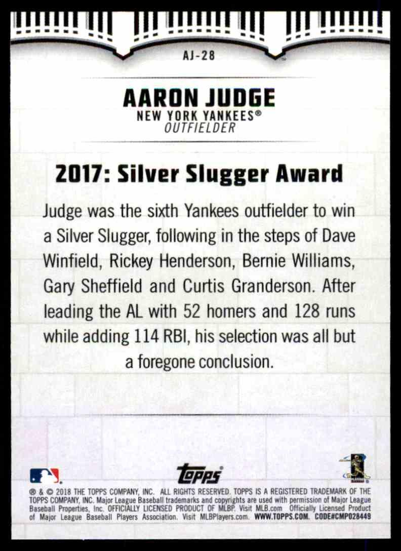 2018 Topps Aaron Judge #AJ-28 card back image
