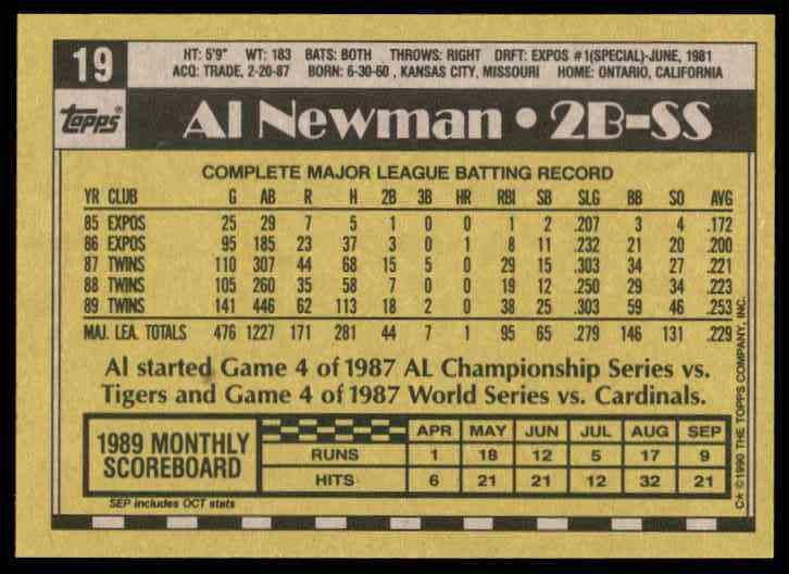 1990 Topps Al Newman #19 card back image