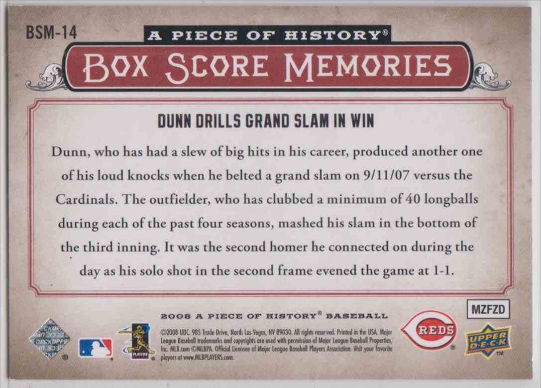 2008 Upper Deck A Piece Of History Box Score Memories Red Adam Dunn #BSM-14 card back image