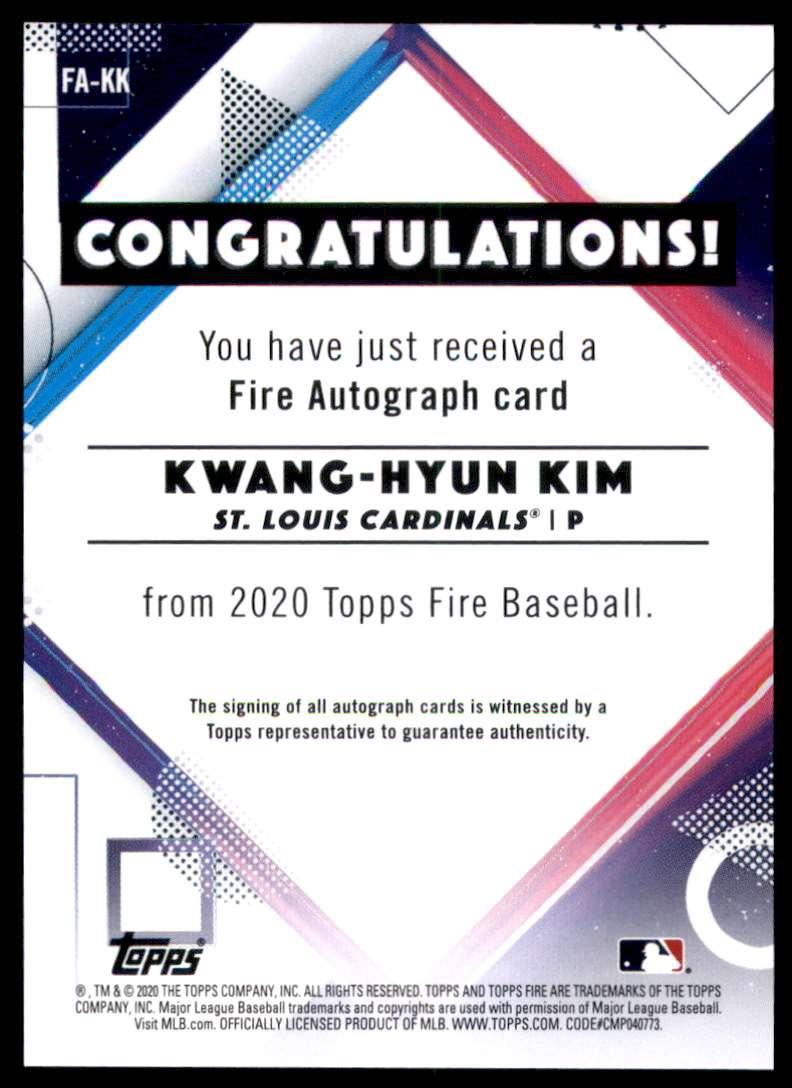 2020 Topps Fire Autographs Kwang-Hyun Kim #FAKK card back image