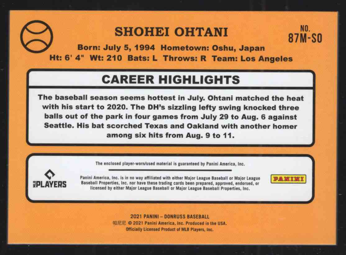 2021 Donruss Retro '87 Materials Shohei Ohtani #87MSO card back image